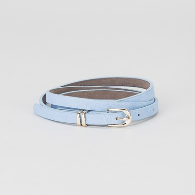 Women's belt, buckle and yoke gold, width - 0.8 cm, color blue