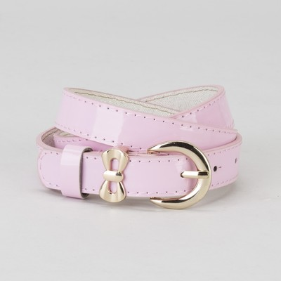 Women's belt smooth buckle and a collar of gold, width - 2.2 cm, color pink