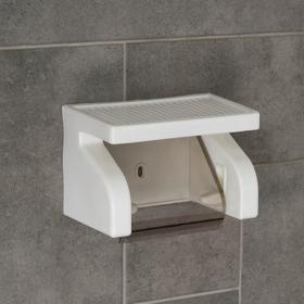 Держатель для туалетной бумаги с полочкой 18×11.5×12 см, цвет белый