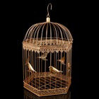 """Клетка шестиугольная """"Птицы"""", 48х28см, золотистая"""