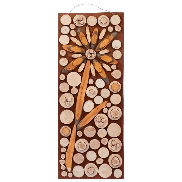 """Панно """"Ольховый цветок"""" 30х75см (срезы ольхи,можжевельника ,кедра и ели)"""