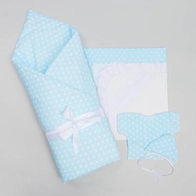 Комплект на выписку для мальчика (7 предметов), цвет голубой 1503Пм_М