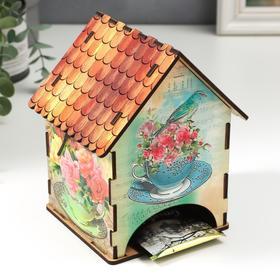 """Чайный домик """"Домик с розами и птичками"""" 15х10х10 см"""