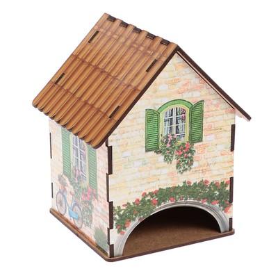 """Чайный домик """"Домик с зелеными ставнями  и велосипедом"""" 15х10х10 см"""