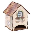 "Чайный домик ""Домик с цветами на балконе (лейка+лестница)"" 15х10х10 см"