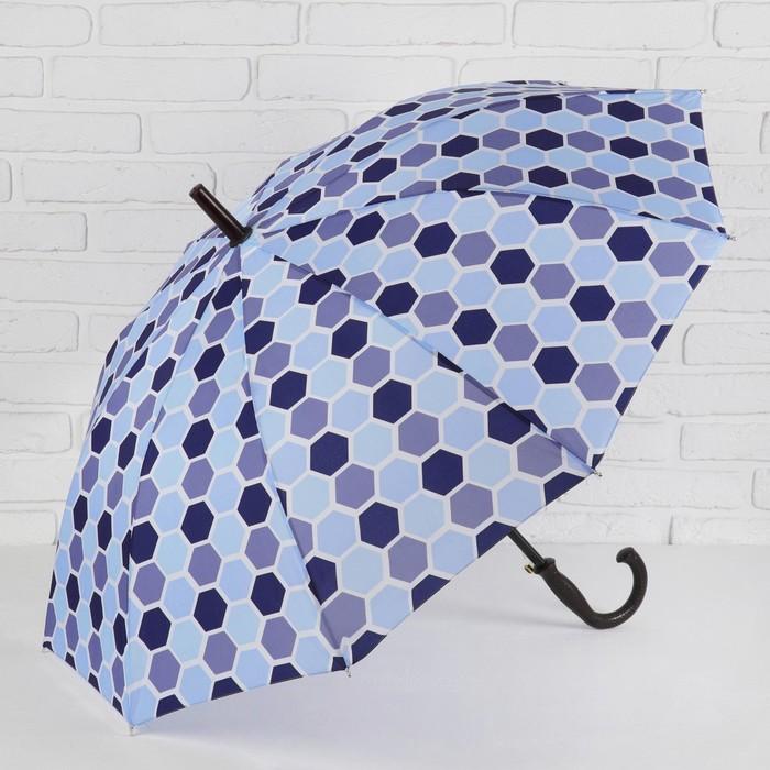 Зонт - трость полуавтоматический, 10 спиц, R = 51 см, цвет синий