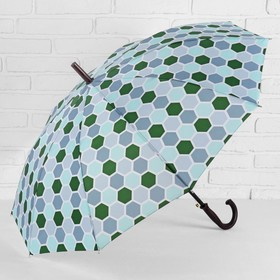 Зонт - трость полуавтоматический, 10 спиц, R = 51 см, цвет зелёный