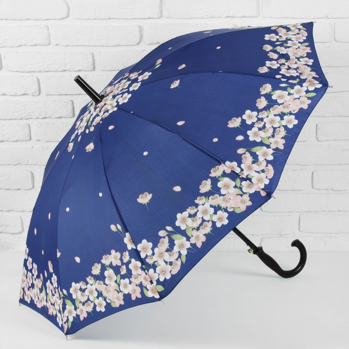 Зонт полуавтоматический «Танец сакуры», 10 спиц, R = 51 см, цвет синий