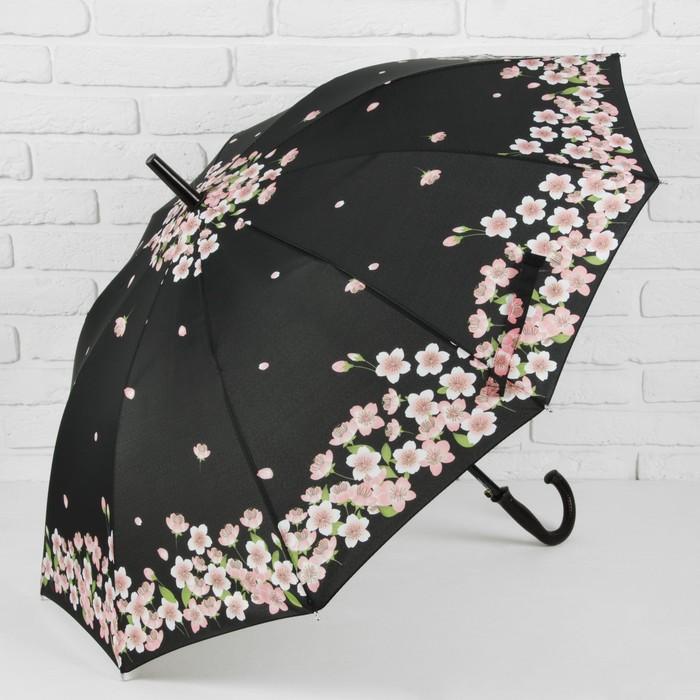 Зонт - трость полуавтоматический «Сакура», 10 спиц, R = 51 см, цвет чёрный