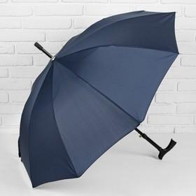 Зонт полуавтоматический, трость, R=51см, цвет синий Ош