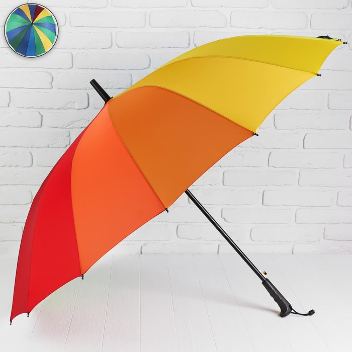 Зонт - трость полуавтоматический «Радуга», 16 спиц, R = 62 см, цвет разноцветный МИКС
