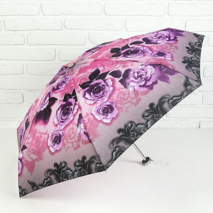 Зонт механический мини «Цветы», 4 сложения, 7 спиц, R = 47 см, цвет сиреневый