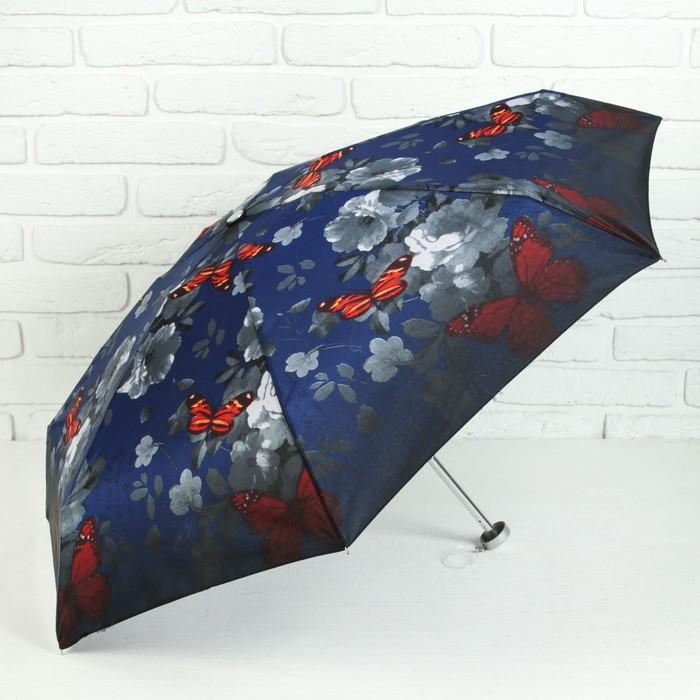 Зонт механический мини «Цветы», 4 сложения, 7 спиц, R = 47 см, цвет синий