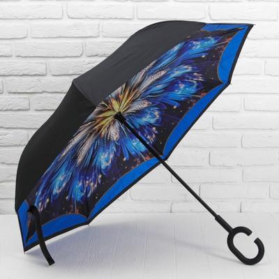 """Зонт наоборот """"Фейерверк"""", трость, R=60см, цвет чёрный"""