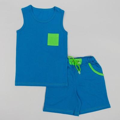 Комплект для мальчика, рост 98 (28) см, цвет бирюзовый/зеленый К-078