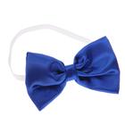 Карнавальный галстук-бабочка синий атласный