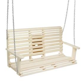 Качели двухместные подвесные с выдвижным подлокотником, деревянные