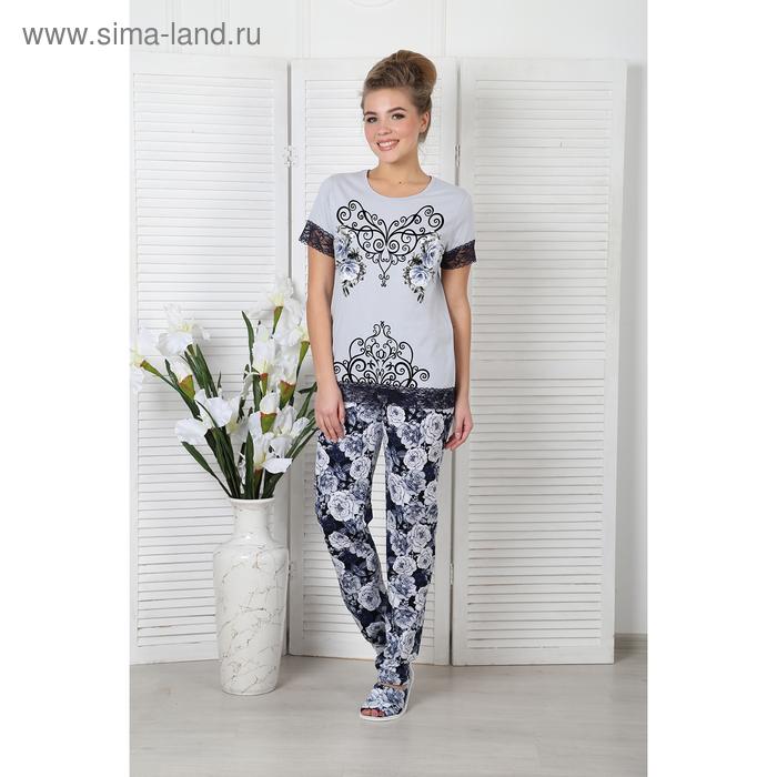Пижама женская (футболка, брюки) Гжель-2 цвет серый р-р 54