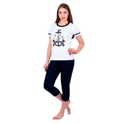Комплект женский (футболка, бриджи) 205ХГ2192П цвет белый/синий, р-р 50
