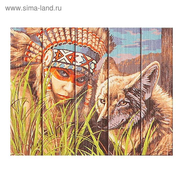 """Арт по дереву """"Легенда о койоте"""" 40х50 см WN016"""