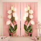 """Фотошторы """"Букетик белых роз"""", размер 150х260 см-2 шт., габардин"""