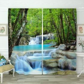 Фотошторы «Лесной водопад», размер 150х260 см-2 шт., габардин