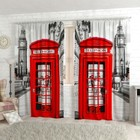 "Фотошторы ""Лондон, телефон"", размер 150х260 см-2 шт., габардин"