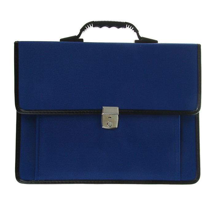 """Портфель деловой ткань 380*290*10 мм Канцбург 1С21 """"Сосново"""" синий с ремнем 45859"""