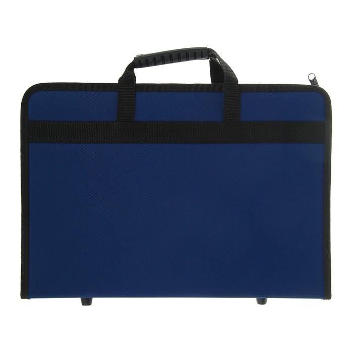 Пaпка с ручками, текстильная, А4, 300  х 210 х 40 мм, «Вдохновение» с карманом, синяя
