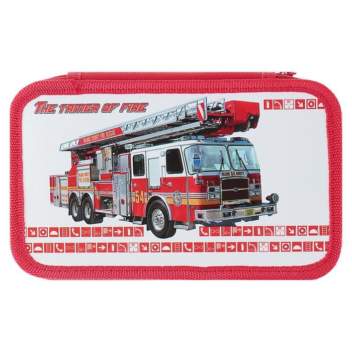 Пенал 2 секции «Пожарная машина», 120 х 205 мм, 3D объёмный рисунок - фото 514310286