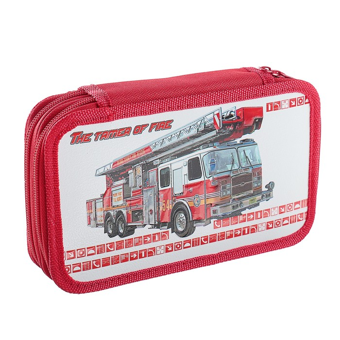 Пенал 2 секции «Пожарная машина», 120 х 205 мм, 3D объёмный рисунок - фото 514310287