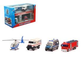 Набор игровой «Службы спасения», 3 металлические машины и вертолет