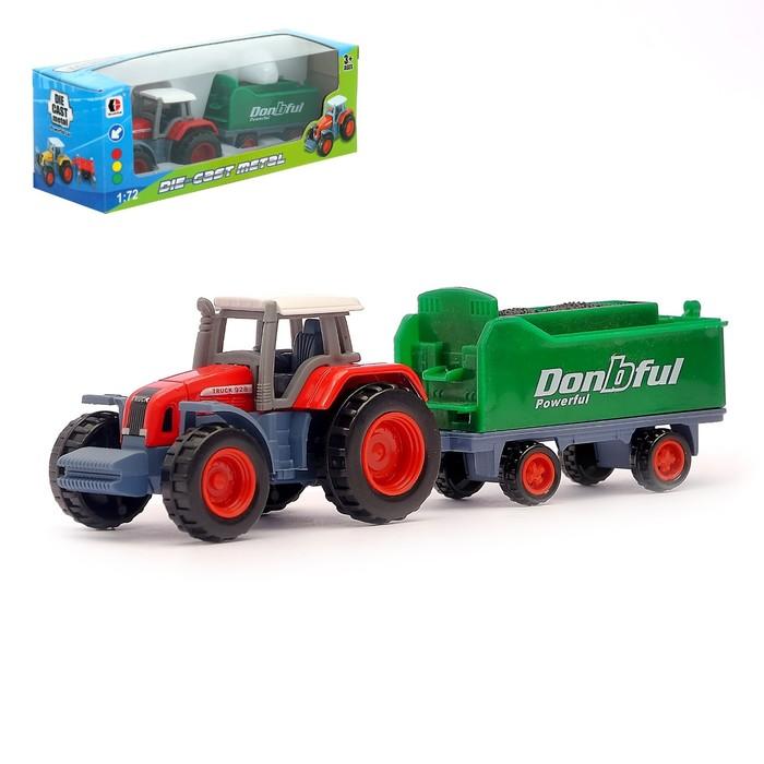 Трактор металлический «Фермер», масштаб 1:72, часть деталей из пластика, цвета МИКС
