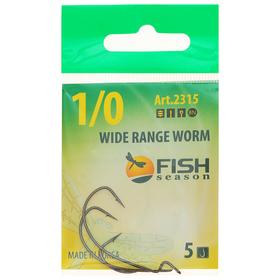 Крючок 'FISH SEASON' Wide Range Worm №1/0 BN 5шт офсет. 2315-0051F Ош