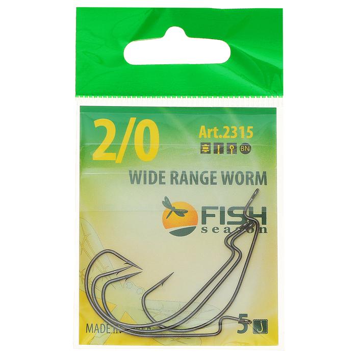 "Крючок ""FISH SEASON"" Wide Range Worm №2/0 BN, 5 штук, офсетный"