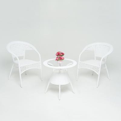 """Набор для отдыха : стол, два кресла , цвет белый, GG-04-07-04 """"WHITE"""""""