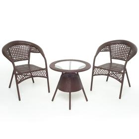 Набор мебели BROWN, 3 предмета: стол, 2 кресла, искусственный ротанг, коричневый, GG-04-07-04