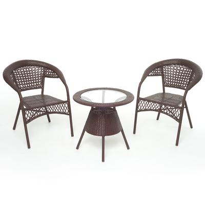 """Набор для отдыха: стол, два кресла, цвет коричневый, GG-04-07-04 """"BROWN"""""""