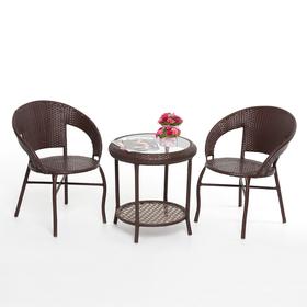 Набор мебели BROWN, 3 предмета: стол, 2 кресла, искусственный ротанг, коричневый, GG-04-05-06