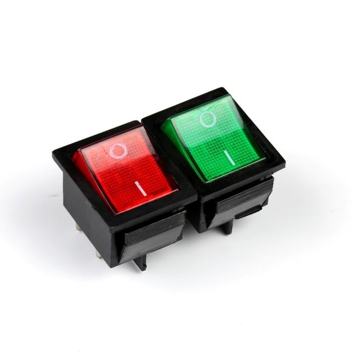Переключатель без фиксации, квадратный, с подсветкой, микс