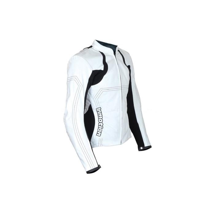 Куртка мотоциклетная женская, кожа, HIZER 164, размер M, черно-белый
