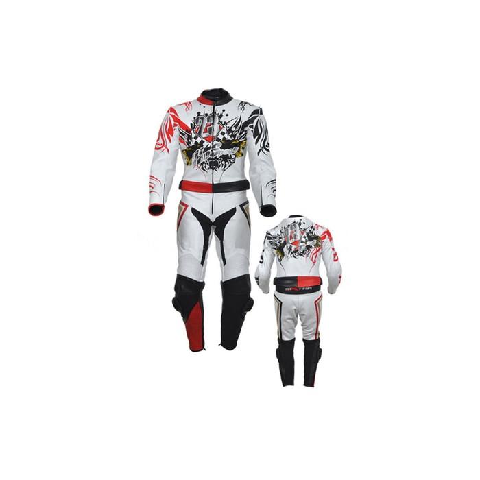 Комбинезон мотоциклетный, кожа, HIZER 353, размер XXL, белый