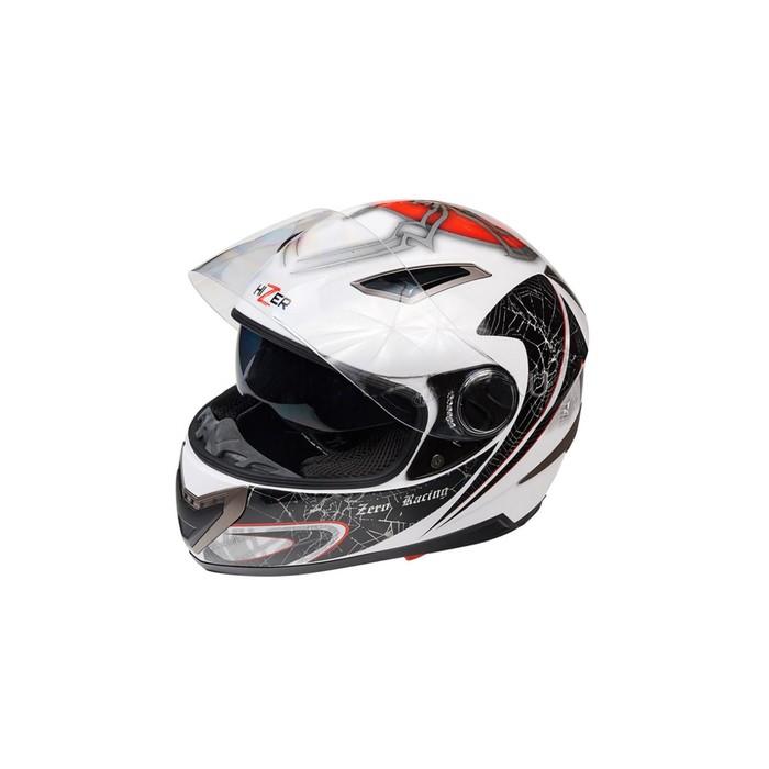 Шлем HIZER 526-1, размер M, бело/черно/красный