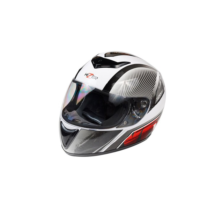 Шлем HIZER 522-2, размер M, бело/серо/красный
