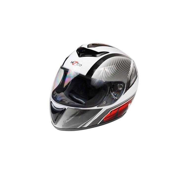 Шлем HIZER 522-2, размер S, бело/серо/красный