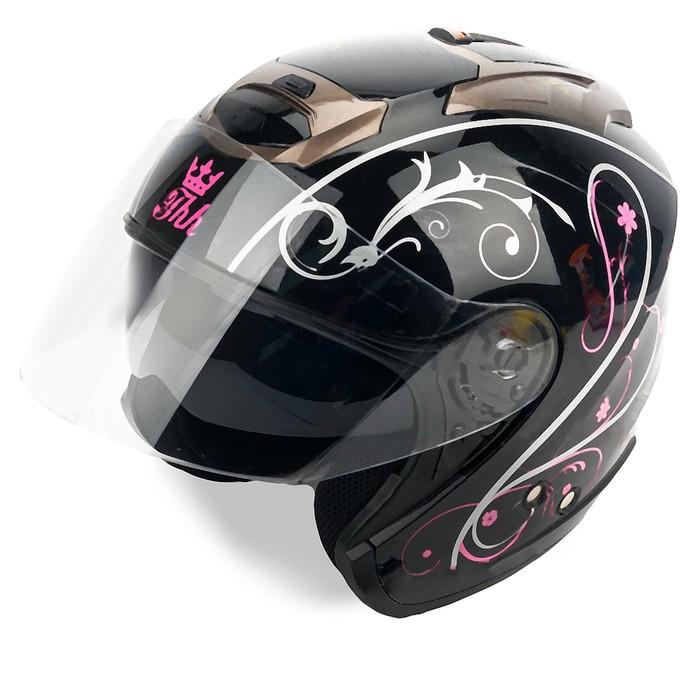 Шлем THH T-386-1, размер S, черно/бело/розовый