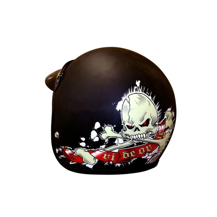 Шлем THH T-380, размер M, черный матовый, с черепом