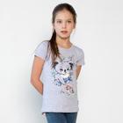 Футболка для девочки, рост 104 см, цвет серый меланж 121-312-22