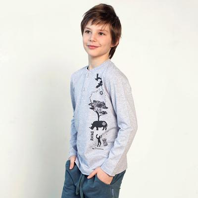 Джемпер для мальчика, рост 110 см, цвет серый меланж 122-315-22