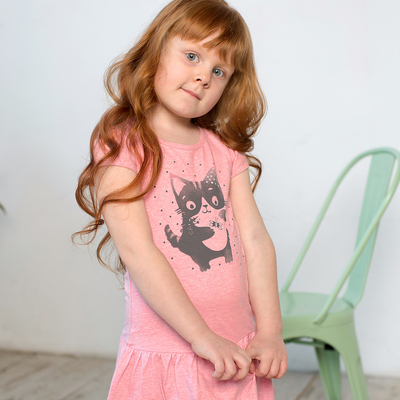 Платье для девочки, рост 116 см, цвет розовый меланж 121-331-24